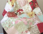 Baby Girl Quilt Country Chic Floral Quilt Newborn Bassinet Baby Size 22X26 Ready to Ship