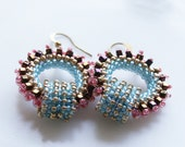 Romantic Boho Chic circle Hoops earring tiny purple pink light blue gold  seed beads Toho finished with gold plated hooks.
