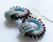Romantic Boho Chic circle Hoops earring tiny purple light blue gold seed beads Toho finished with gold plated hooks.