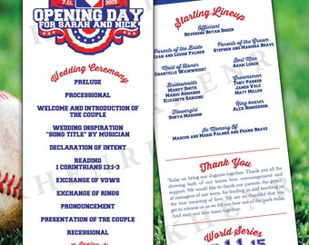 Baseball Wedding Program - digital - printable - Baseball Tickets