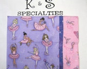 Pillowcase-Ballerinas In Pink On Purple Fabric/Pink Cuff Of Crowns and Scepters With A Dusting Of Stars and Glitter/Girly Girl Favorite