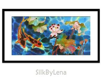 Acrylic Painting Acrylic GICLEE Print Of Original Acrylic Painting SILK Painting Fine Art Print Koi Fish Painting Illustration