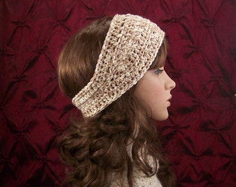 Crochet headband, head wrap, adult ear warmer - vanilla swirl - women's winter accessories - handmade by Sandy Coastal Designs ready to ship