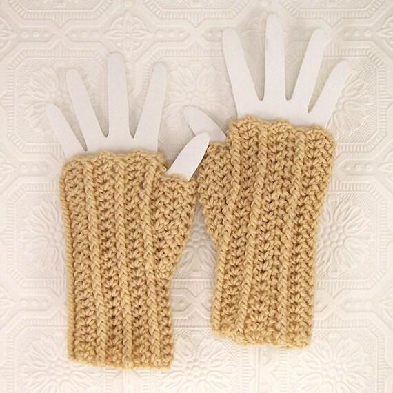 Crochet Fingerless Gloves - Fingerless Mittens - warm beige - women's accessories winter fashion by Sandy Coastal Designs - ready to ship