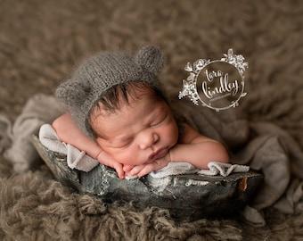 Newborn Gray Bear Bonnet