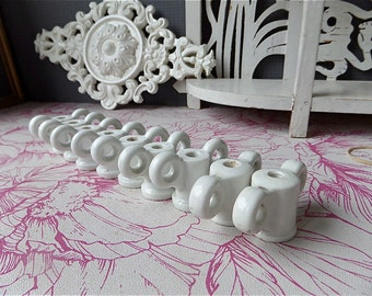Antique  Industrial Electrical Hardware  Porcelain Butterfly Set of 9