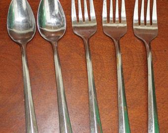 "CREST Vintage flatware Reed & Barton Flatware marked ""Rebacraft"" Stainless Silverware BIN 2"