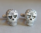 Jewelry Gift,Sugar Skull,Skull Cufflinks Silver Plated Metal Vintage Inspired Style Antiqued Finish Men's Cuff Links & Accessories