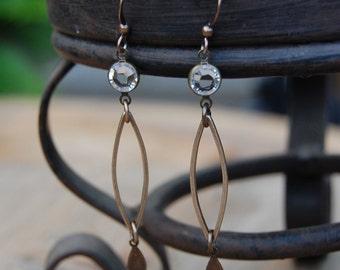 Bronze Bezel Set Rhinestone Earrings