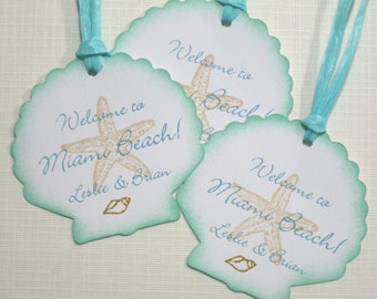 10 Personalized Tags - Seashell Starfish Seashore Thank You  Welcome Tags - Tropical Wedding - Destination Wedding - Beach Wedding  - Aqua