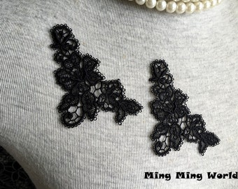 Black Flower Lace Applique -3 PCS Black Flower Applique Lace Trim