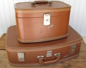Vintage Travel Joy Matching Suitcase and Train Case - Great Condition