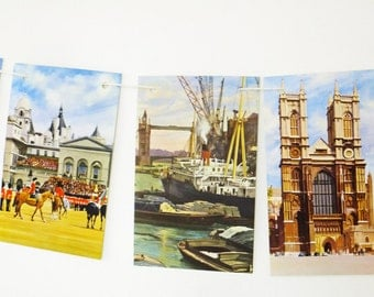 London Bunting, London garland, London banner, up-cycled vintage Ladybird Book