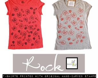Cotton TEE printed with original hand-carved stamps- rock