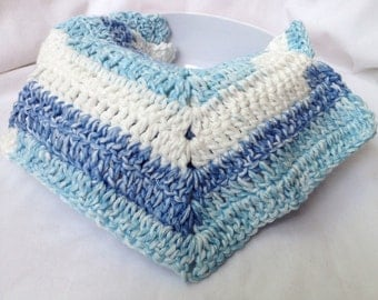 Crochet Dishcloths - 3 Blue & White Cloths - All Cotton