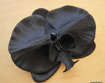4.5 Black Orchid Silk Flower Poly Silk Hair Clip Goth Formal