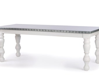 Zinc Table Zinc Dining Table - Dauphine Baluster  Zinc Metal Top Dining Table Custom Sizes Available