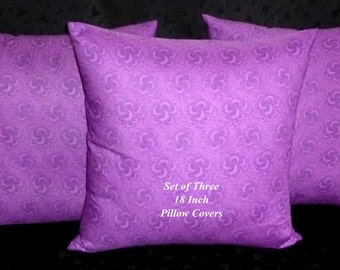 Decorative Pillows, Accent Pillows, Pillow Covers, 18 Inch Pillows, Cushion Covers - Purple - Set of Three 18 Inch