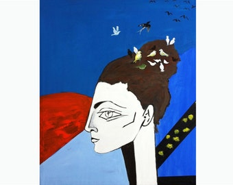 Picasso cubist woman large art-Woman portrait large painting-Abstract art-Birds Modern painting-Oil and acrylic Canvas.FREE SHIPPING
