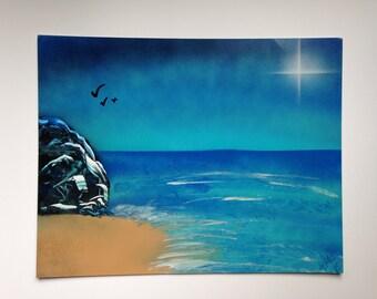 Seaside Beach Original Painting 11x14 Spray Paint