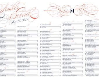 Elegant swirl seating chart poster with monogram DIY version Salmon & Navy or your custom colors