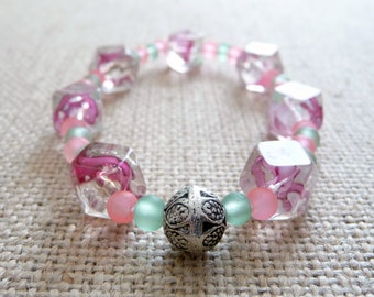 Pink And Green Glass Stretch Bracelet, Elastic Stretch Bracelet, Pink And Green Jewelry, Glass Swirl Beads, Chunky Bead Bracelet, Matte