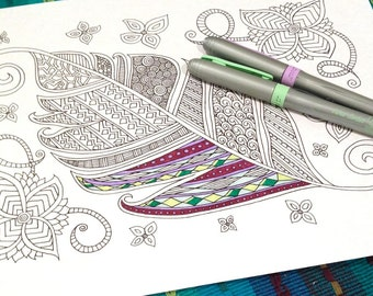 Adult Coloring Leaf Page Flower Doodle Design Printable Instant Download Kids Activity