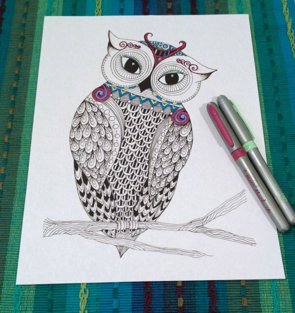 coloring page owl zentangle doodle design printable