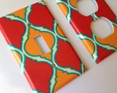 Moroccan Light SwitchPlate Cover/ Turquoise Red Orange Quatrefoil Single Light Plate / Lattice Decor / Red Home Decor / Turquoise Nursery