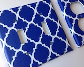 Moroccan Light SwitchPlate Cover/ Royal Blue Quatrefoil Double Light Plate / Lattice Decor / Blue Home Decor / Nautical Nursery / Bathroom
