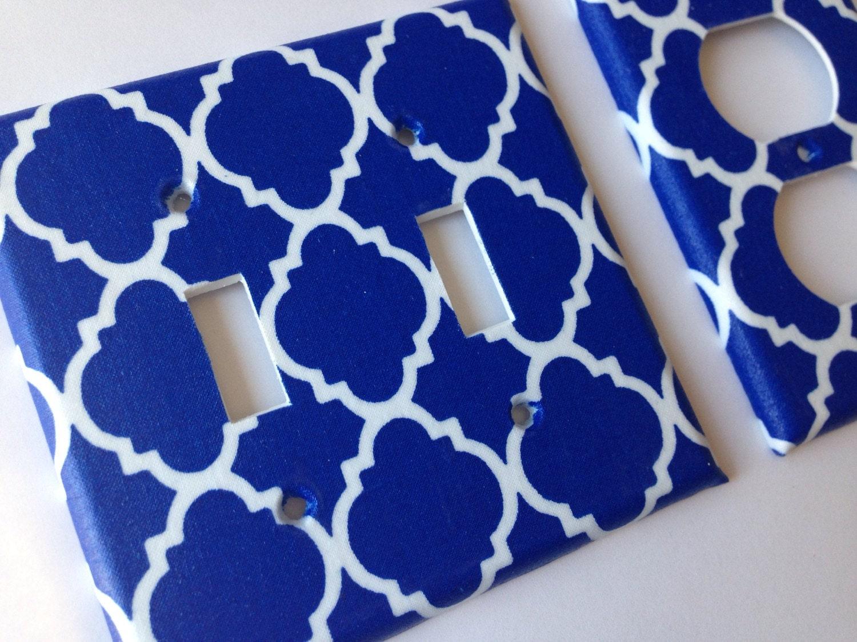 Moroccan light switchplate cover royal blue quatrefoil double for Quatrefoil bathroom decor
