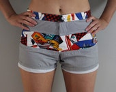 awesome 80s / 90s comic strip graphic cotton board shorts, size XS/S