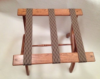 Guest Room Luggage Rack, Cherry Hardwood, Choice of Webbing