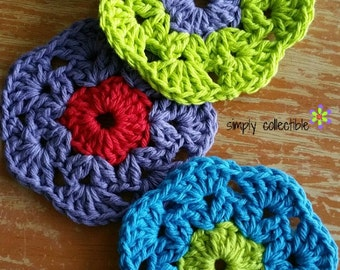 Crochet Pattern - Retro Bloom Scrubbie crochet pattern - pdf
