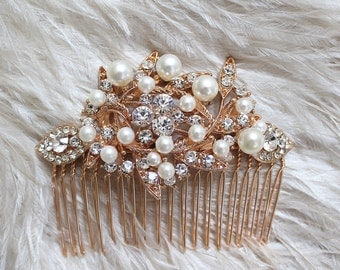 Gold Crytal Pearl Bridal Hair Comb. Vintage Silver Rhinestone Jewel Wedding Headpiece. SERENITY
