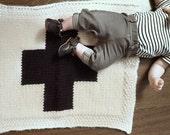 Knitting pattern, knit baby blanket, geometric, modern, swiss cross, plus sign