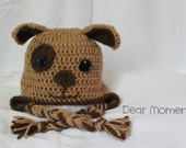 CUSTOM ORDER for E. Putt 0-3 Months Size Crochet Puppy Hat in Brown and Tan - Free shipping!