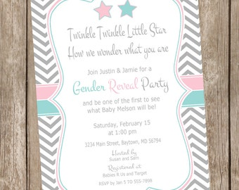Gender Reveal Invitation, twinkle twinkle litter star baby shower invitation, pink and blue gender reveal invitation, star invitation