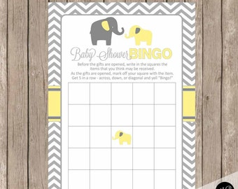 Yellow and gray baby shower bingo, elephant baby shower bingo game, baby shower game, yellow and grey baby shower activity, bingo yg1