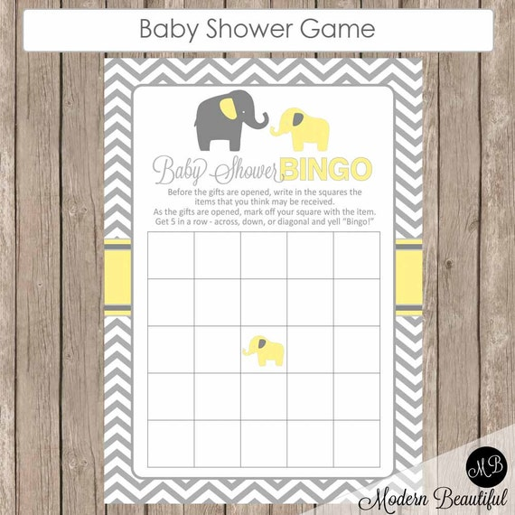 baby shower bingo game baby shower game yellow and grey baby shower