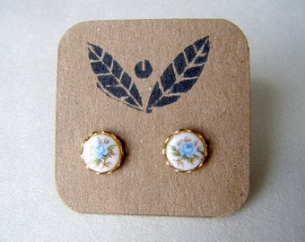Vintage Blue Rose Post Earrings