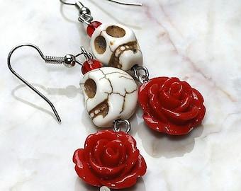 Day of the Dead Dia de los Muertos Frida Señorita Red Rose Turquoise Sugar Skull Dangle Hypoallergenic Earrings