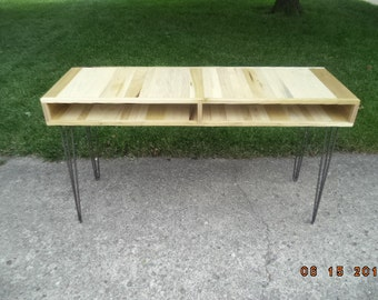 Desk, Bench, Wooden Bench, Industrial And Steel, Dining Bench, Furniture, Metal Legs, Entry Bench, Hallway Bench, TV Stand, Wood