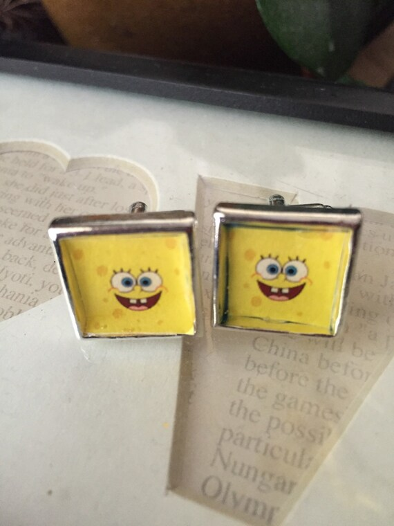 SPONGEBOB SQUAREPANTS CUFFLINKS Perfect for your hubby, dad, son, or wedding