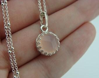 Rose Cut Pink Chalcedony Bezel Set Sterling Silver Pendant