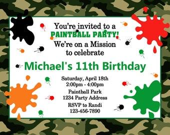 Paintball Invitation - Camouflage Paintball Birthday Party - Printable JPEG File #1
