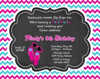 Girl Chalkboard Pool Party Birthday Invitations - Flip Flops Sunglasses - Pink Blue Chevron - Photo Invitations - Printable JPEG File #29