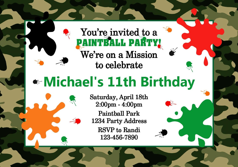 Paintball Birthday Invitations Gangcraft Net