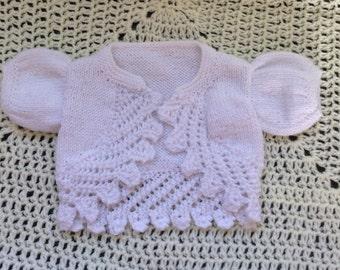 Hand Knitted Bolero Style Cardigan Baby Girl Newborn Cardigan 0-3month Immediate shipping