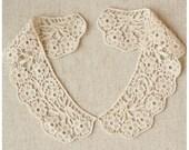 Venice Cotton Lace Collar Appliques Beige Floral Emborideried Collars 1 pair